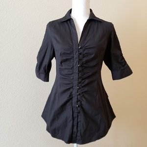Love Culture Button-Down Blouse with Corset Back